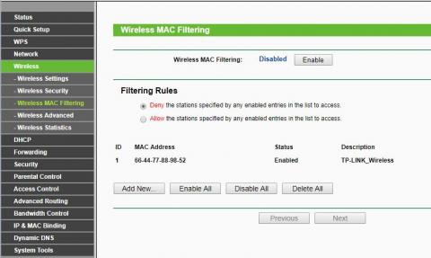 Wireless MAC filtering